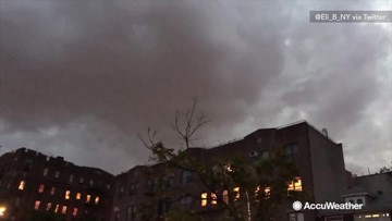 Summer lightning flashes in ominous clouds over New York City