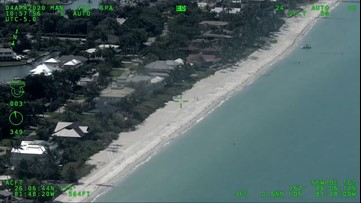 Aerial video shows beach completely deserted