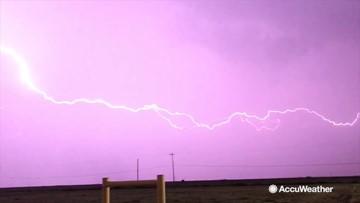 Spectacular lightning radiates the night sky
