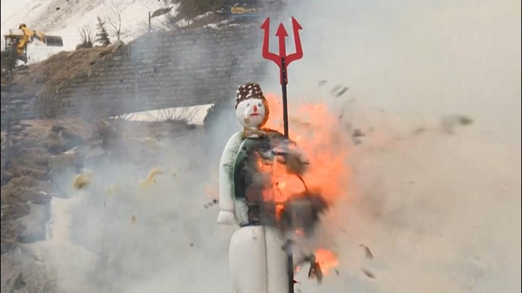 In Switzerland, an exploding snowman announces warm weather
