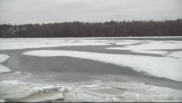 Hudson River is almost completely frozen over