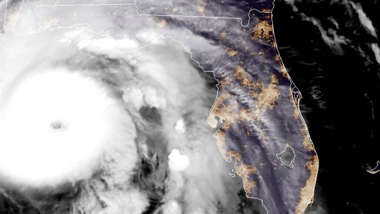 A satellite image of Hurricane Michael as it approaches the Florida panhandle on the morning of Oct. 10, 2018. (Credit: NOAA)