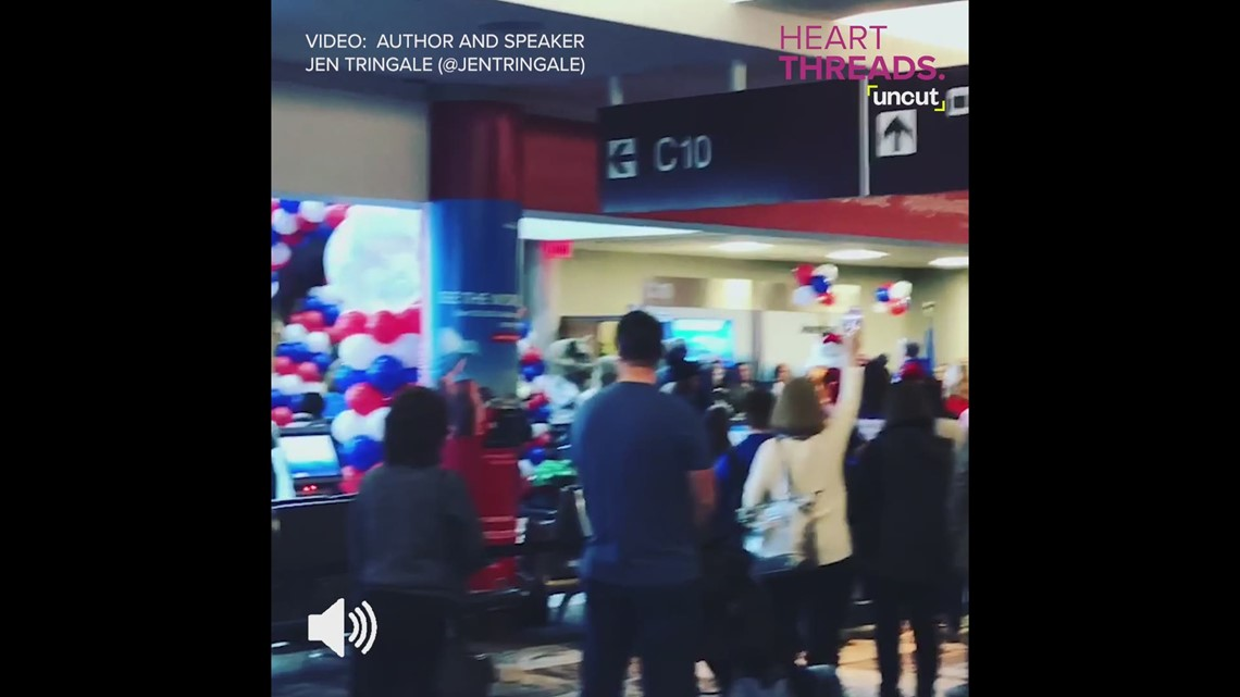Children of fallen soldiers get touching national anthem tribute at Nashville airport