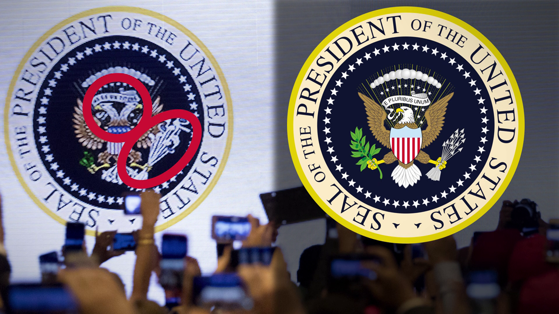 VERIFY: Yes, a fake 'Presidential Seal' was put up behind Trump at a recent speech