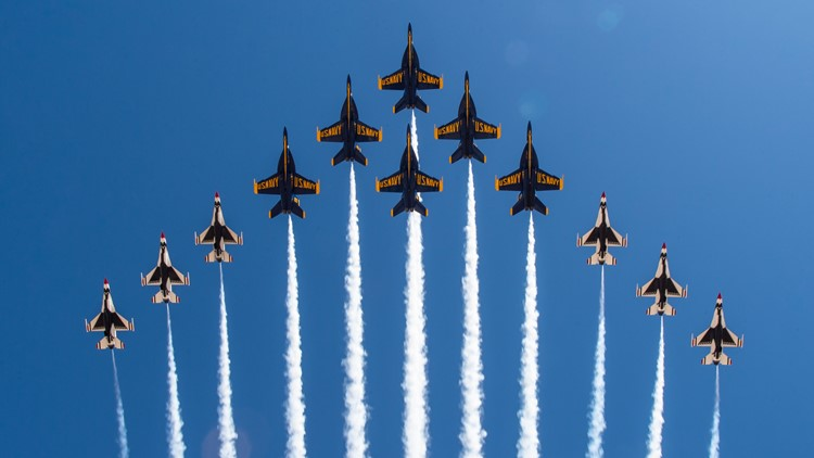 Air Force Thunderbirds, Navy Blue Angels fly 'Super Delta' formation for the first time