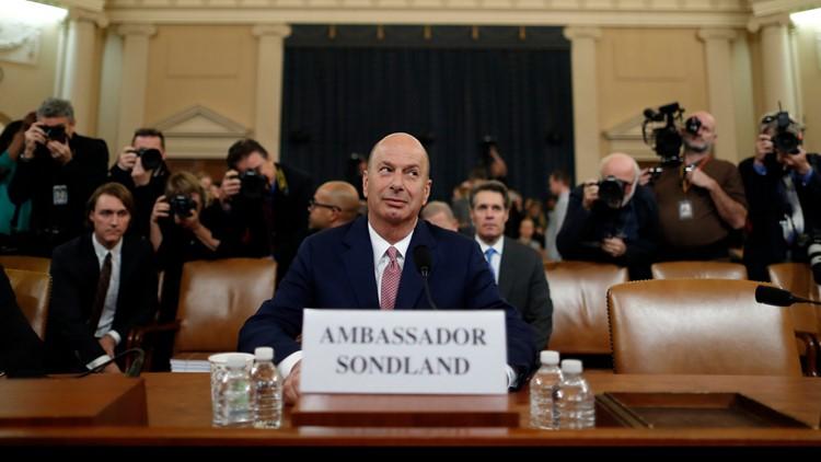 Watch live: Gordon Sondland says Guiliani pushed for Ukraine quid pro quo in public hearing