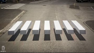 Students create 3D crosswalk to force drivers to slow down at their school