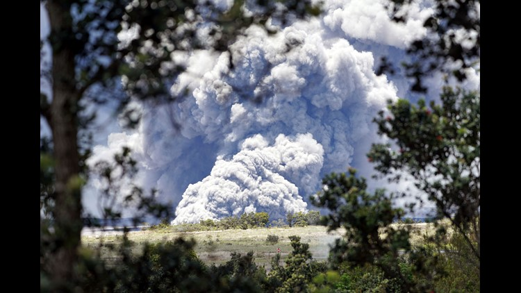 A column of ash from the  Kilauea volcano towers over the Big Island of Hawaii on May 15, 2018.