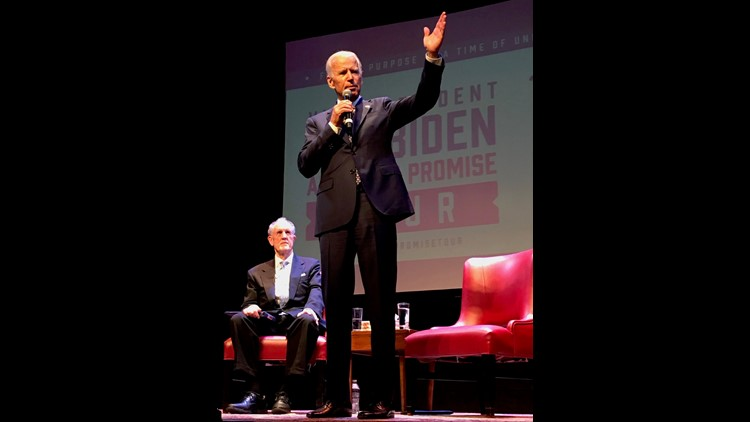 "Former Vice President Joe Biden speaks to the crowd at the Grand Opera House in Wilmington Sunday, June 10. The event was part of his national ""American Promise"" tour."