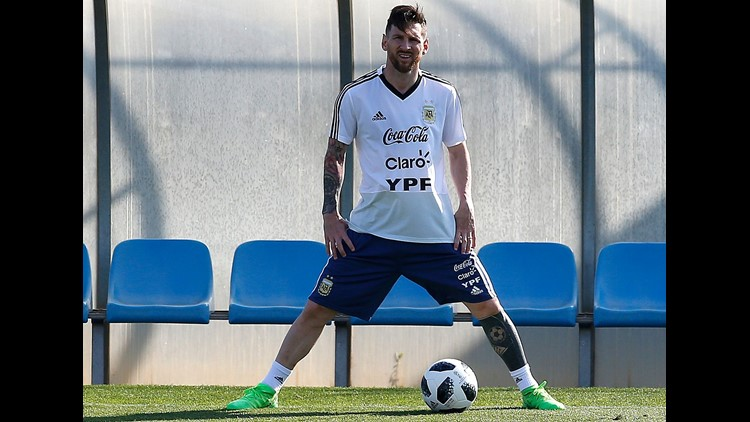 Argentina's Lionel Messi takes part during a team training session at the Sports Center FC Barcelona Joan Gamper, in Sant Joan Despi, Spain, Friday, June 1, 2018. Israel will play against Argentina next 9 June in a friendly soccer match. (AP Photo/Manu Fe