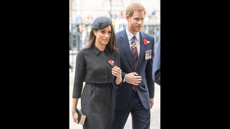 Prince Harry and Meghan Markle attend the Anzac Day service at Westminster Abbey on Wednesday, in London.