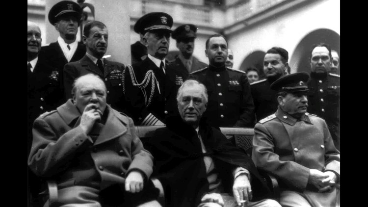 British Prime Minister Winston Churchill, President Franklin D. Roosevelt and Soviet General Secretary Joseph Stalin sit together during the Yalta conference in February 1945.