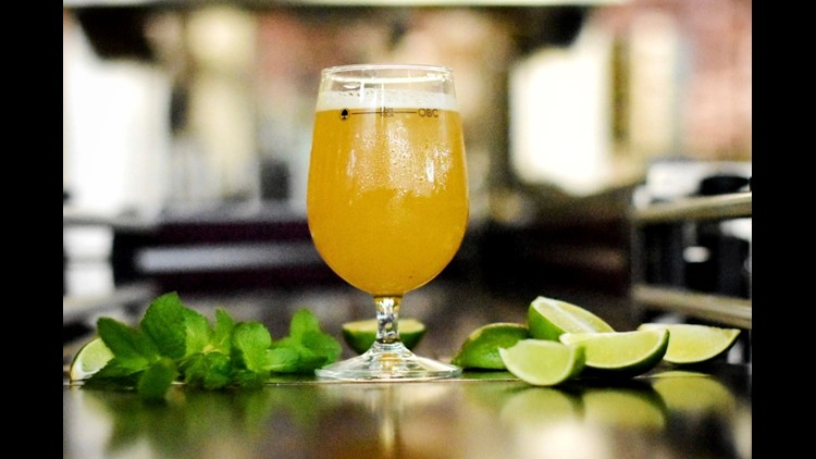 The N2daB, a cross between Farmhouse Saison and Belgian Wheat, nods to the mojito cocktail thanks to a heavy helping of fresh mint and lime zest, both of which are added after fermentation. While it took a whole crew to craft this collaboration, you can f