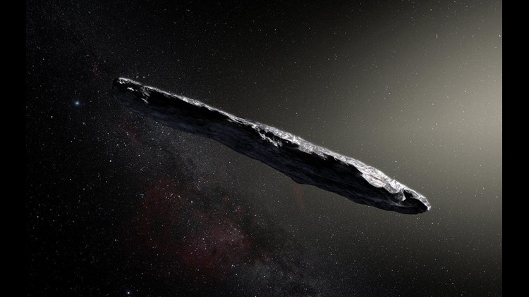 An artist's impression shows the first interstellar asteroid: `Oumuamua. This unique object was discovered on Oct. 19,  2017, by the Pan-STARRS 1 telescope in Hawaii. Subsequent observations from ESO's Very Large Telescope in Chile and other observatories
