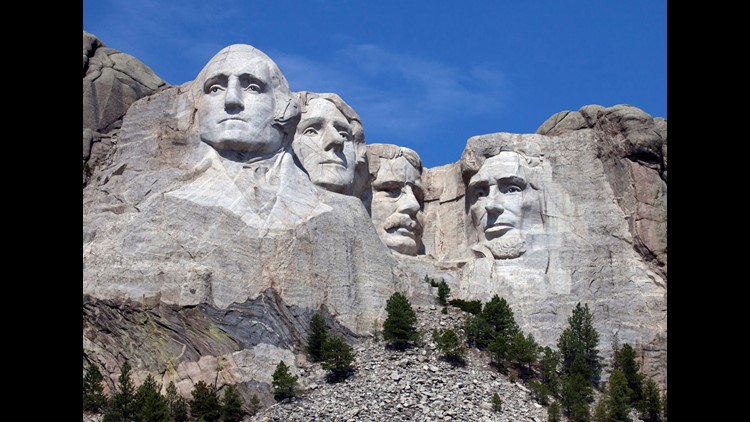 South Dakota - Mount Rushmore is one of the most famous rock formations in the US because it holds the faces of four United States Presidents. Near Keystone, South Dakota George Washington, Thomas Jefferson, Theodore Roosevelt, and Abraham Lincoln will al