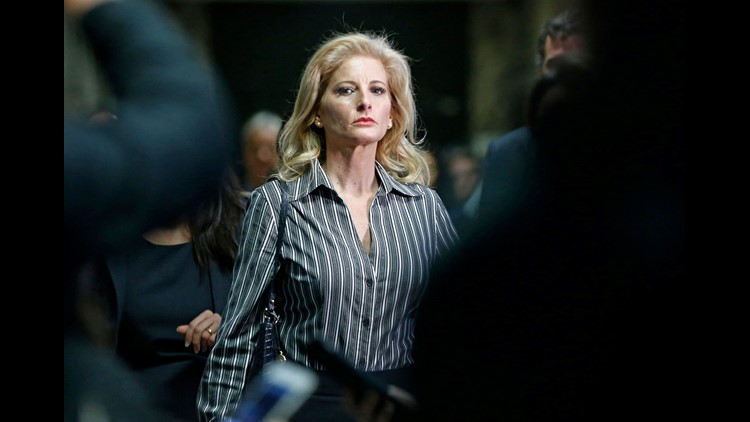 FILE - In this Dec. 5, 2017 file photo, Summer Zervos leaves Manhattan Supreme Court at the conclusion of a hearing in New York. Lawyers for President Donald Trump and Zervos, a former ?Apprentice? contestant who sued the president for saying her sexual m