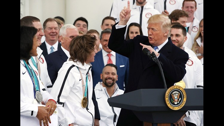 President Trump at a celebration of the USA 2018 Winter Olympic and Paralympic teams at the White House on April 27, 2018.