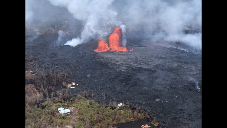 This image obtained May 30, 2018 from the US Geological Survey shows Fissure 8 reactivated on the afternoon of May 29,2018 when, at times, lava fountains were reaching heights of 200 feet and feeding a lava flow that advanced to the northeast at Kilauea V