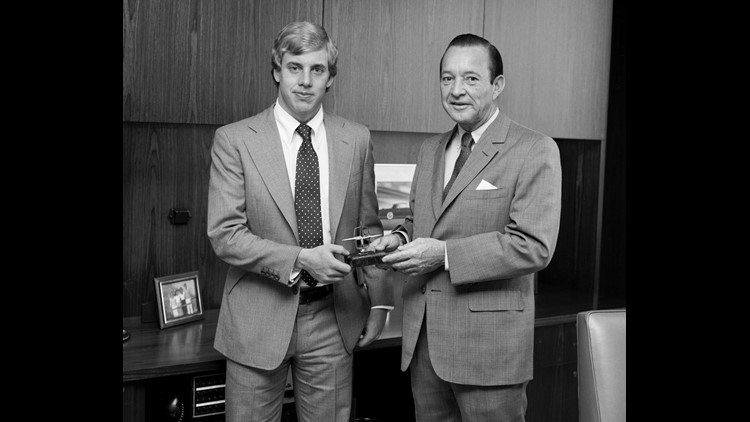 1979--Bill Ford Jr. with his father William Clay Ford Sr. on Bill's first day of work .