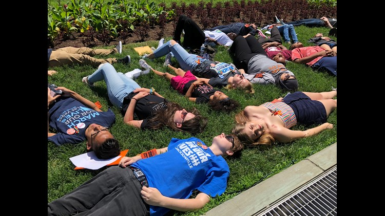 Students gathered on the lawn of the U.S. Capitol to protest for gun-control on Tuesday, two years since the Pulse nightclub shooting in Orlando, Fla.