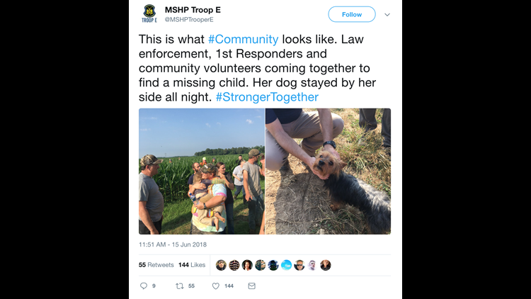 The Missouri State Highway Patrol Troop E Tweeted after a missing child was recovered in a cornfield on Friday morning.