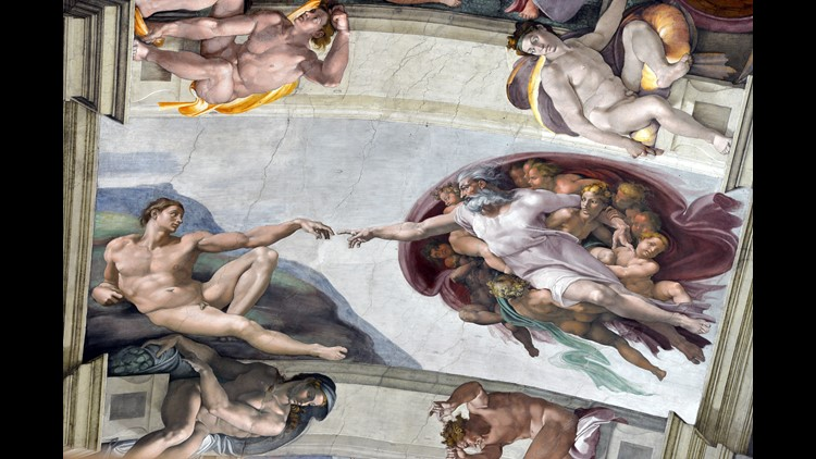 The ceiling of the Sistine Chapel ahead of a cardinals conclave on March 9, 2013 at the Vatican.