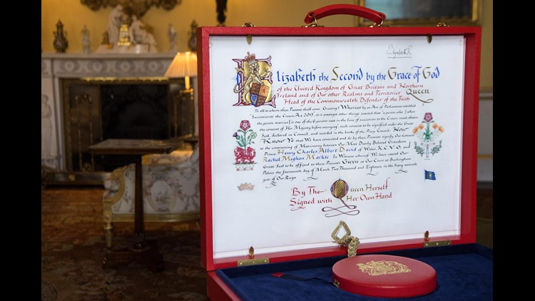 The 'Instrument of Consent', which is Queen Elizabeth II's historic formal consent to Prince Harry's marriage to Meghan Markle, photographed at Buckingham Palace on May 11, 2018.