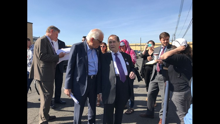 Immigration rights activists and several Democratic members of Congress from New York and New Jersey, including Rep. Bill Pascrell Jr., D-N.J, center left, and Rep. Jerrold Nadler, D-N.Y., center right, were at the immigration detention center in Elizabet