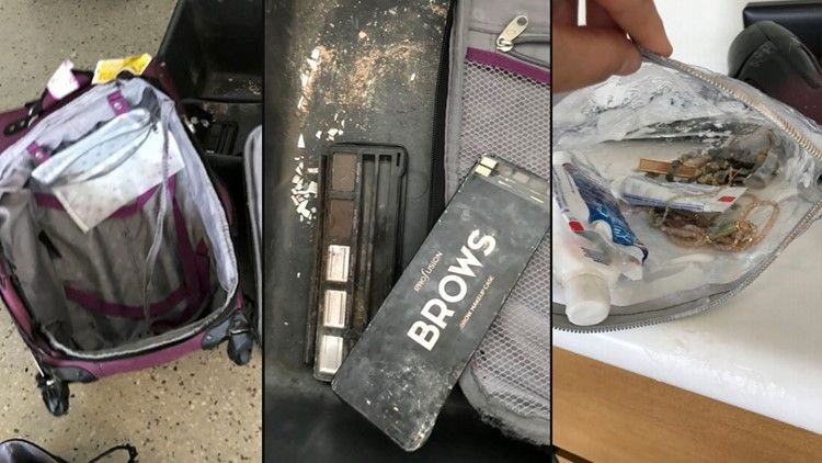 An American Airlines Passenger Shared These Images Of Her Bag With Wfaa Tv Dallas