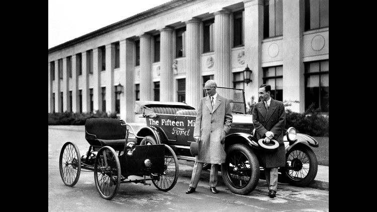 1927--Henry and Edsel Ford with Quadricycle and the fifteenth million Ford Model T.