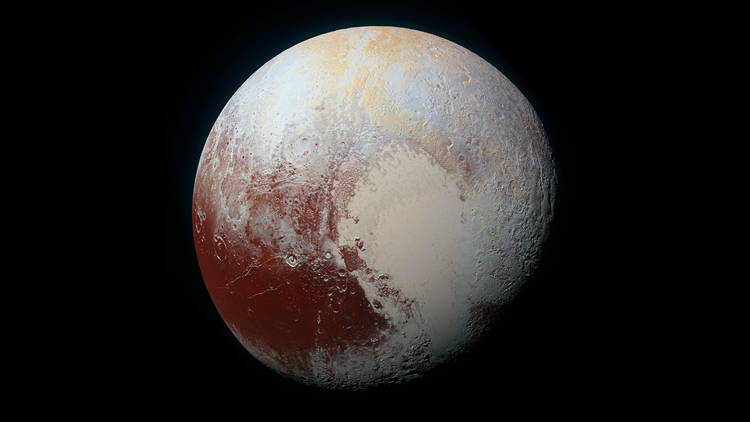 A high-resolution color-enhanced image of Pluto