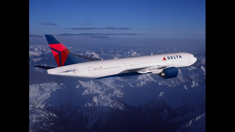 A Delta Air Lines Boeing 777 in the carrier's most-recent livery.