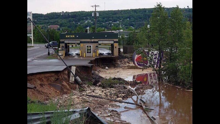 Flood damage is pictured in Houghton, Michigan in the Upper Peninsula on June 17, 2018.