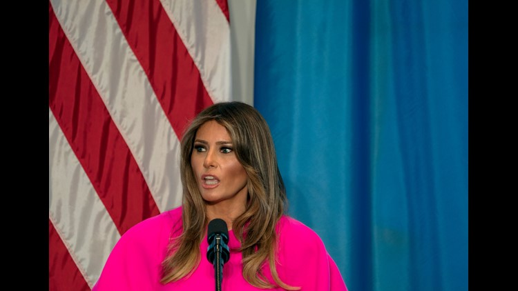 First lady Melania Trump addresses a luncheon at the U.S. Mission to the United Nations in New York on Sept. 20, 2017.