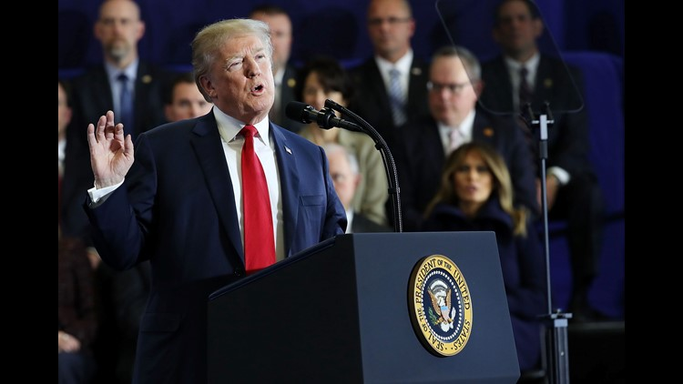 President Donald Trump speaks to supporters and local politicians at an event at Manchester Community College The president addressed the ongoing opioid crisis which has had a devastating impact on cities and counties across the nation.