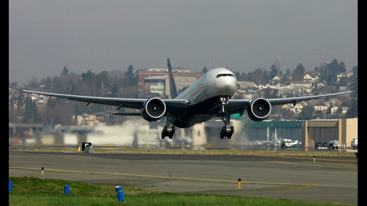 A new Boeing 777-200 LR purchased by Delta Air Lines Inc. takes off Feb. 29, 2008, from Boeing Field in Seattle.