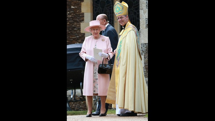 The two most important people in the Church of England: Queen Elizabeth II and Archbishop of Canterbury Justin Welby, in July 2015 at christening of Princess Charlotte in Sandringham.