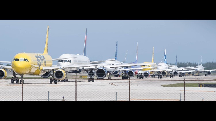 Jets line up to depart from Fort Lauderdale-Hollywood International Airport on Sept. 8, 2017.