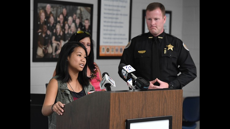 Fifteen-year-old Jordan Reyes speaks during a press conference Friday, June 8, 2018 at the Anderson School District 5 administrative offices to release the video showing where she was narrowly missed by a Anderson sheriff's deputy vehicle while waiting to