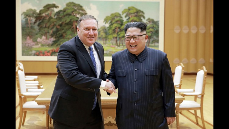 North Korean leader Kim Jong Un and Secretary of State Mike Pompeo shake hands at the Workers' Party of Korea headquarters in Pyongyang on May 9, 2018.
