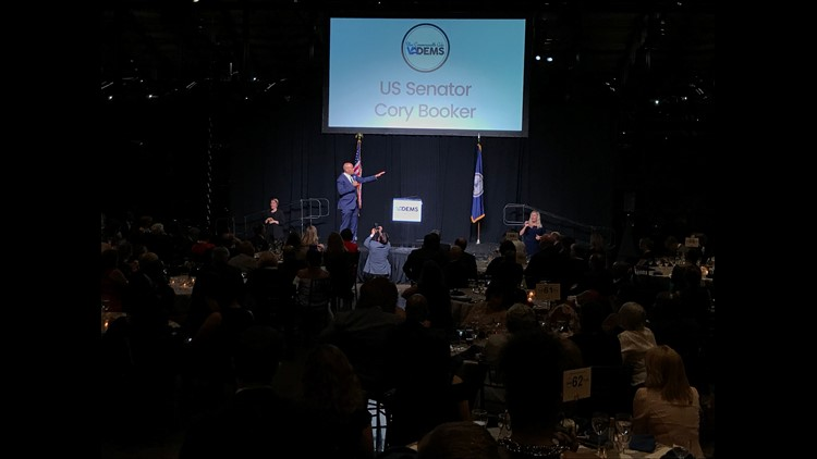 Sen. Cory Booker, D-N.J., speaks at the June 16, 2018 fund-raising gala for the Virginia Democratic Party in Richmond.