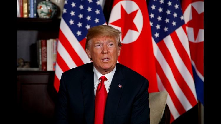 President Trump meeting with North Korean leader Kim Jong Un on June 12, 2018, in Singapore.