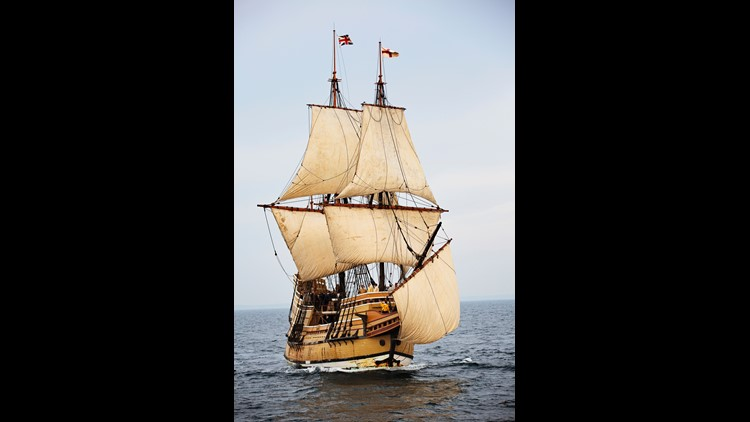 Mayflower II is at sail in Plymouth Harbor.