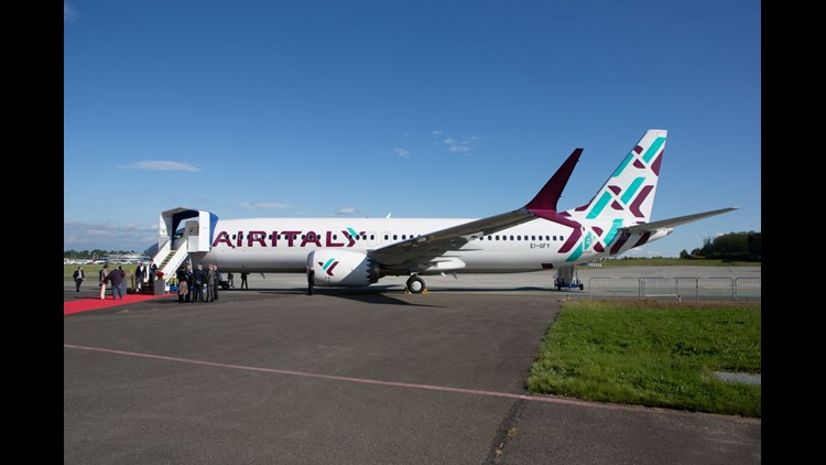 Air Italy's first Boeing 737 MAX, seen at its delivery ceremony in Everett, Wash., on May 11, 2018.