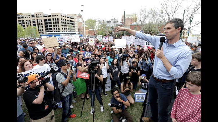 U.S. Rep. and Senate candidate Beto O?'Rourke speaks during the March for Our Lives at Cleveland Square in El Paso, Texas.