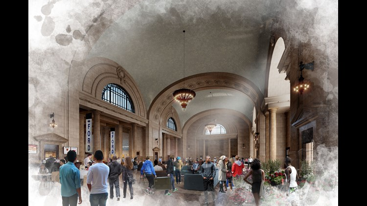 Rendering provided by Ford Motor Company of the proposed changes to the Michigan Central Station in Detroit. Ford bought the station from the Moroun family in 2018.