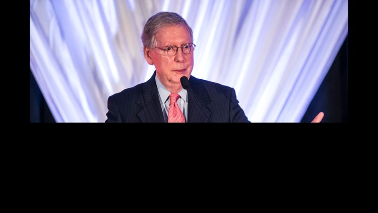 Sen. Mitch McConnell says great strides by Republicans have been made since Donald Trump took office. Aug. 25, 2018