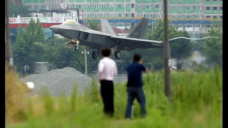 A U.S. F-22 Raptor stealth fighter jet lands as South Korea and the United States conduct the Max Thunder joint military exercise at an air base in Gwangju, South Korea, May 16, 2018. North Korea on Wednesday canceled a high-level meeting with South Korea