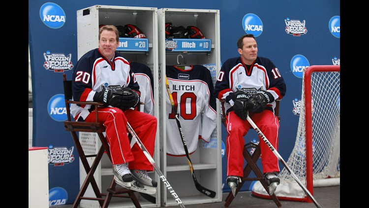 Bill Ford Jr. and Christopher Ilitch are announced as co-chairs for the 2010 NCAA Frozen Four to be held in April 2010 at Ford Field in Detroit. They are at Campus Martius Park skating rink in January 2010.
