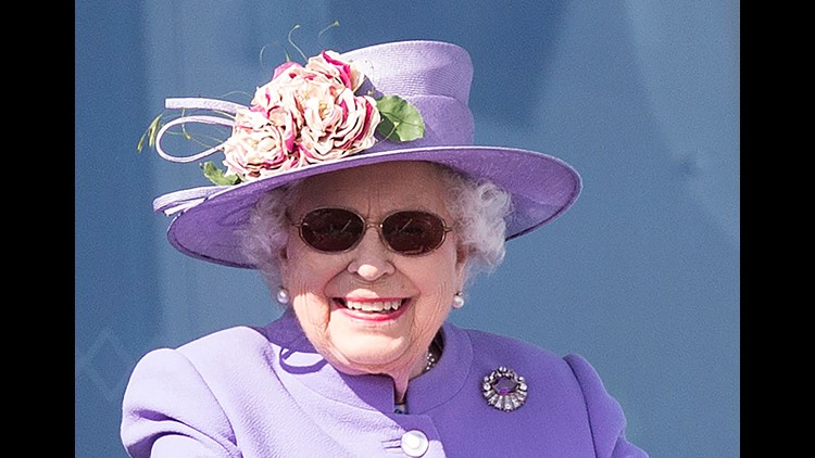 Queen Elizabeth II donned sunglasses at Epsom Downs racecourse in Surrey